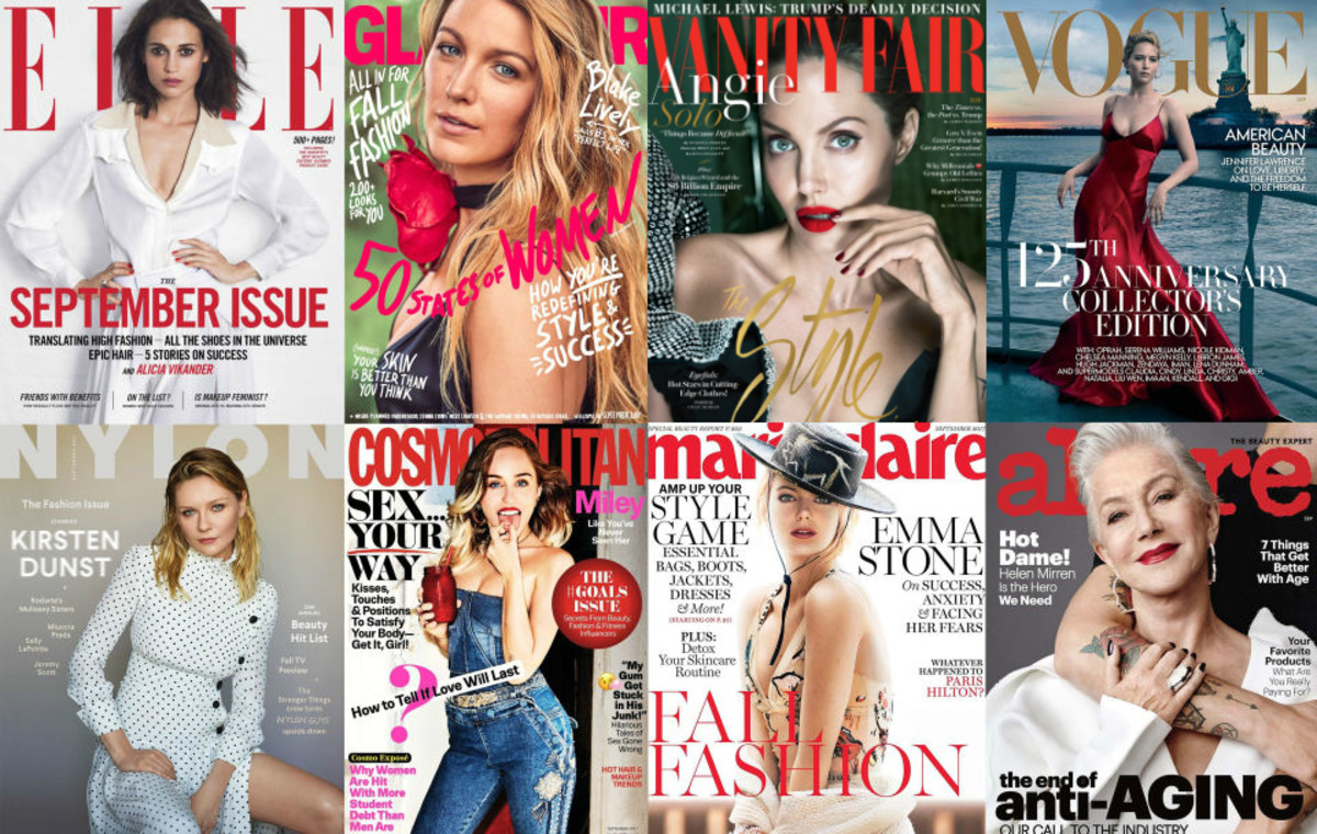 Some of the September 2017 covers of magazines. Photo: Fashionista/Whitney Bauck