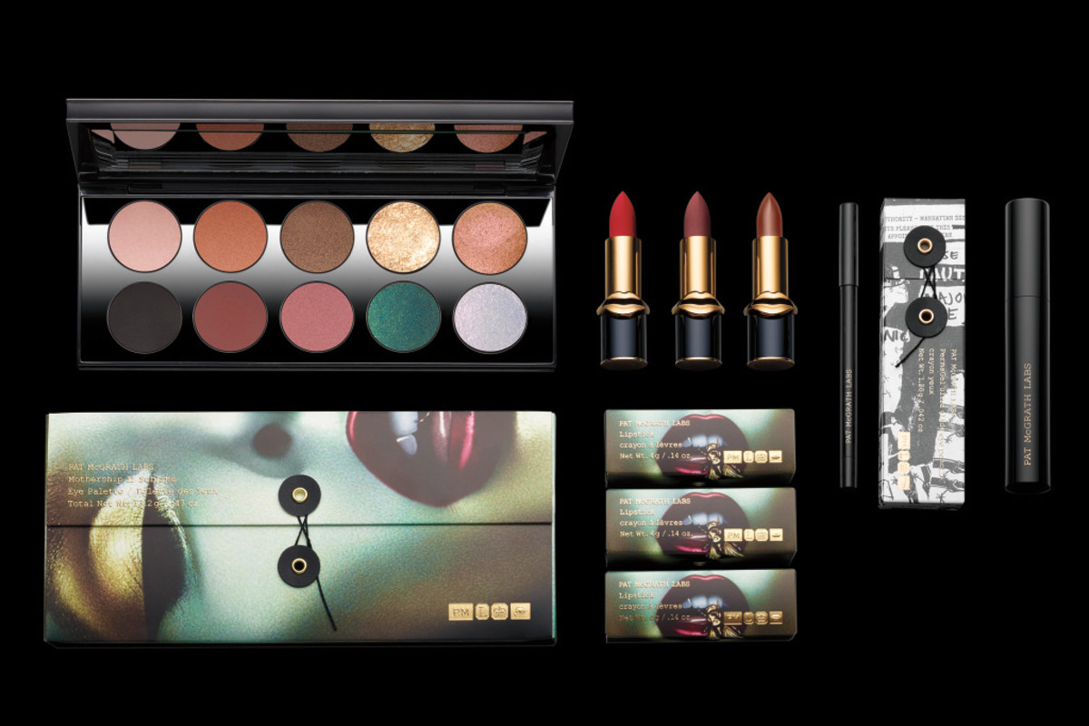 The Pat McGrath Labs Mothership II Sublime Eye Palette, LuxeTrance Lipsticks, PermaGel Ultra Glide Eye Pencil and Dark Star Mascara. Photo: courtesy
