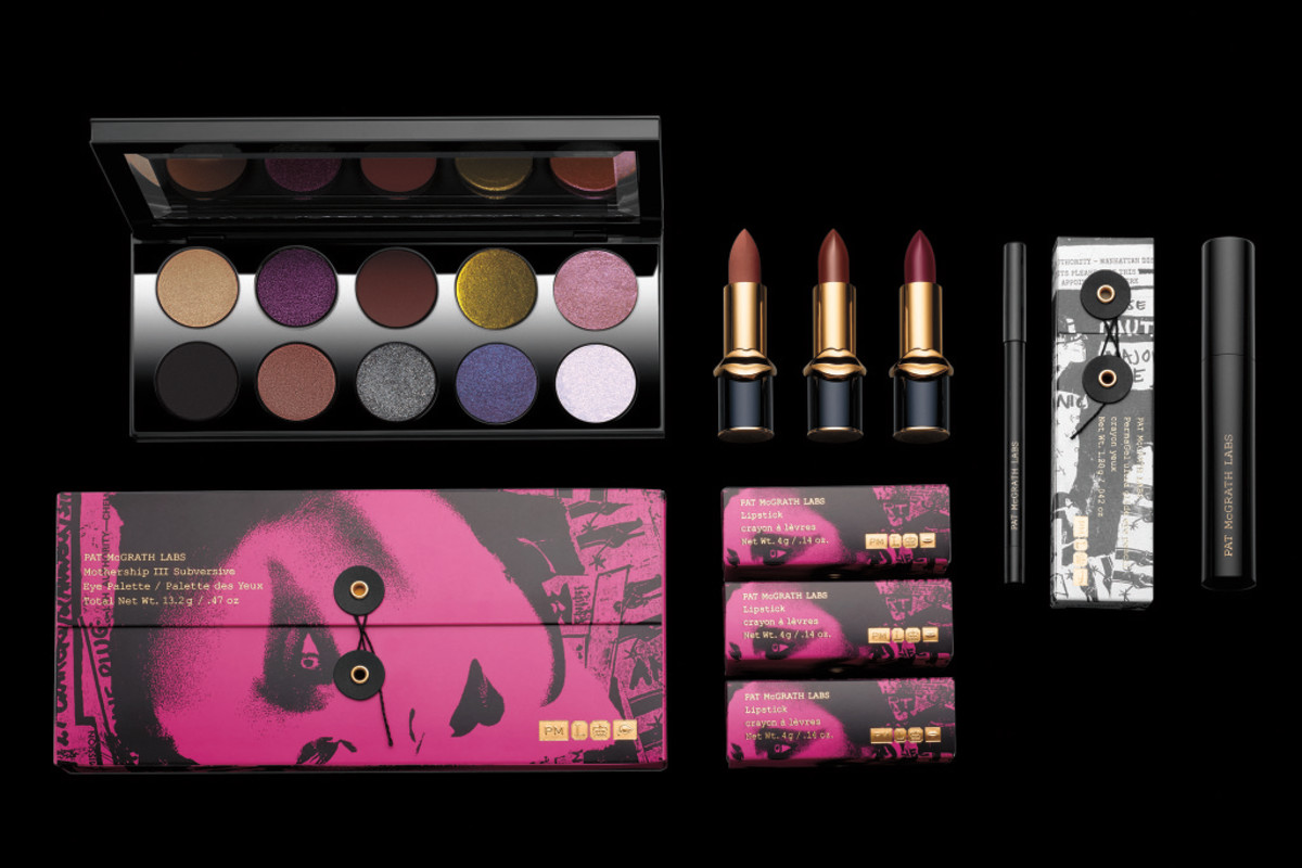 The Pat McGrath Labs Mothership III Subversive Eye Palette, LuxeTrance Lipsticks, PermaGel Ultra Glide Eye Pencil and Dark Star Mascara. Photo: Courtesy of Pat McGrath Labs