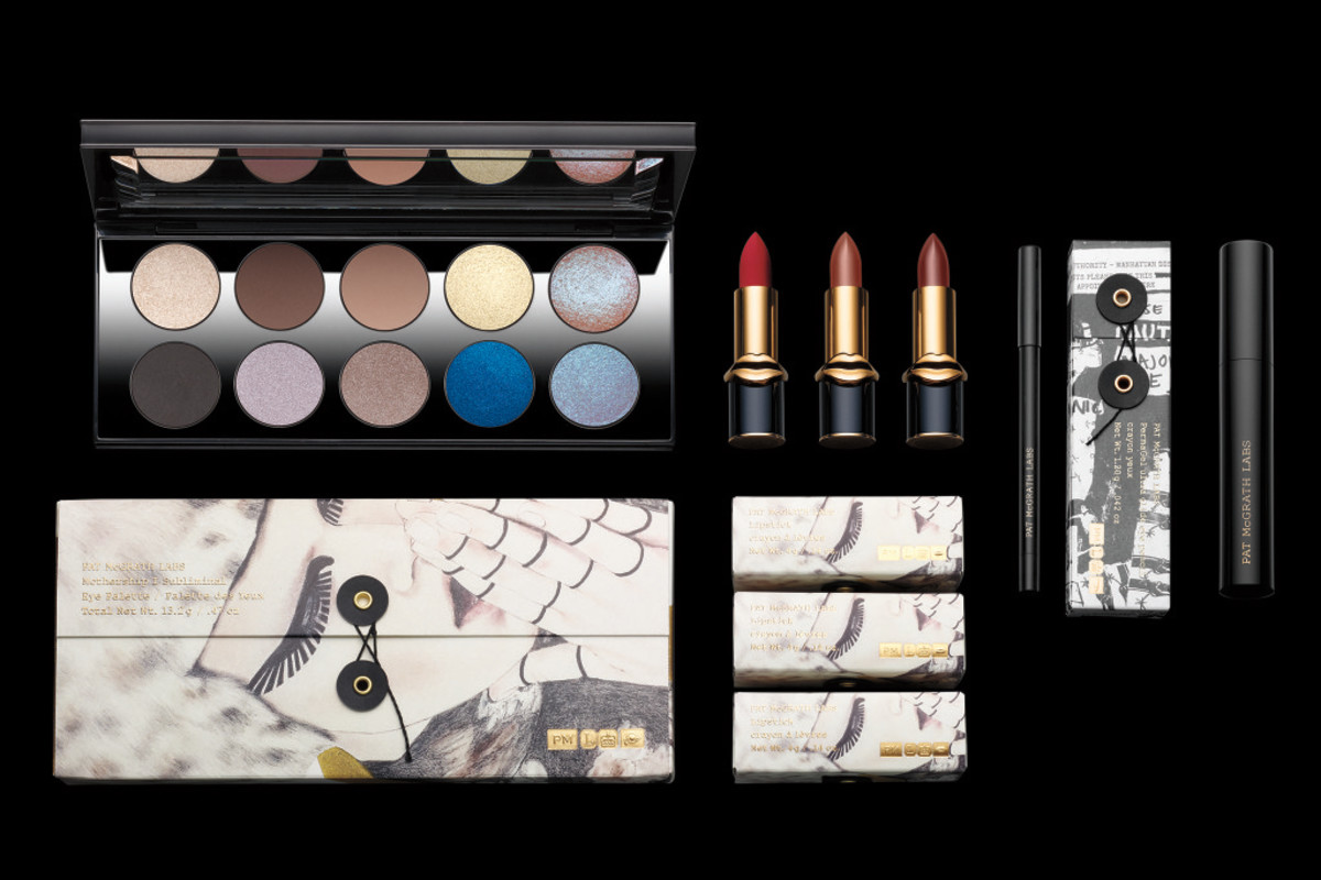The Pat McGrath Labs Mothership I Subliminal Eye Palette, MatteTrance Lipsticks, PermaGel Ultra Glide Eye Pencil and Dark Star Mascara. Photo: Courtesy of Pat McGrath Labs