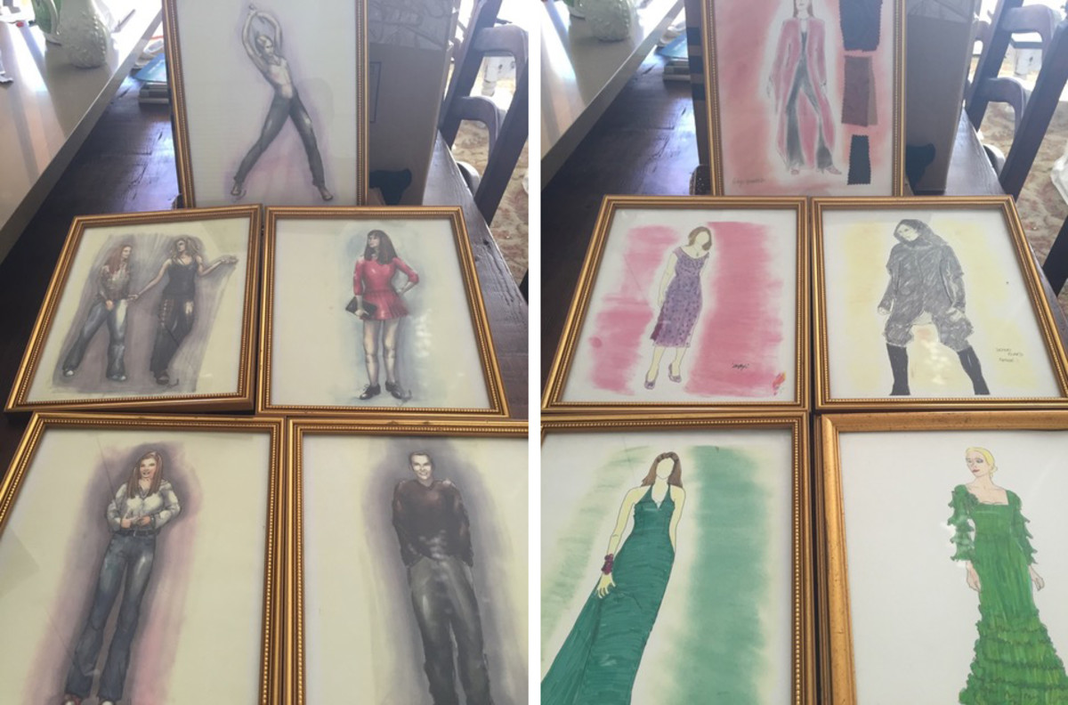 On left, clockwise from top: Buffy, Cordelia, Xander, Willow, Buffy and Willow. On right, clockwise from top: Glory, demon, Buffy at Anya and Xander's wedding, Cordelia at prom, Buffy's first day at college (remember the cherry dress?!). Sketches: courtesy Cynthia Bergstrom