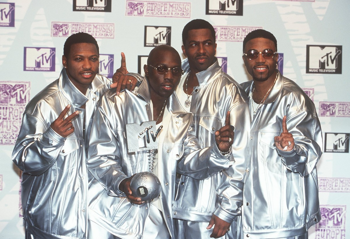 Blackstreet (Mark Middleton, Chauncey Hannibal, Eric Williams and Teddy Riley) at the 1997 MTV Europe Music Awards in Rotterdam. Photo: Franziska Krug/Getty Images