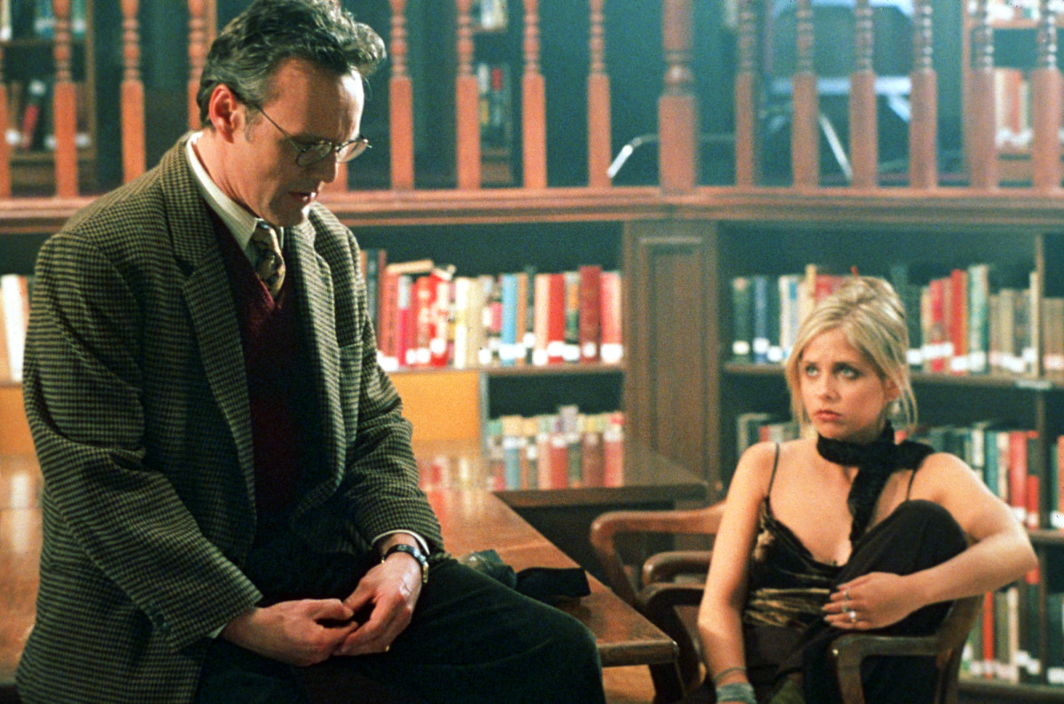 Watcher Giles (Anthony Head) and Buffy. Where can I get that cami now?. Photo: © 1997-2003 Twentieth Century Fox Film Corporation. All Rights Reserved.