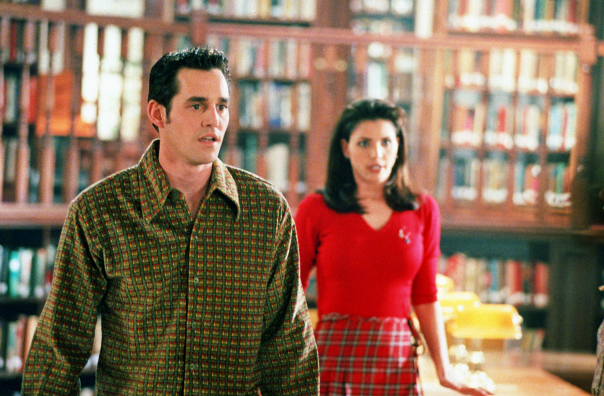Xander (Nicholas Brendon) and Cordelia (Charisma Carpenter) in the realized version of Bergstrom's above sketch. Photo: © 1997-2003 Twentieth Century Fox Film Corporation. All Rights Reserved.