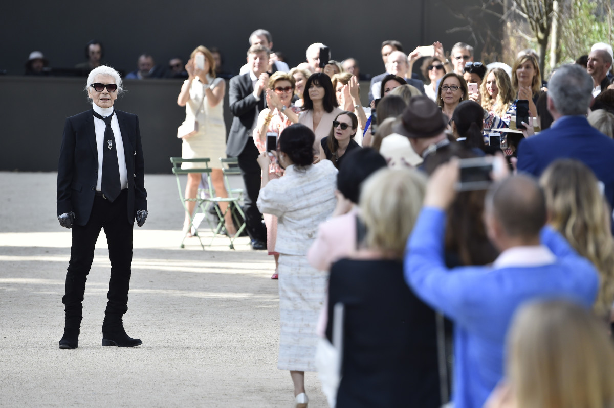 e77ad8aa1c1374 Karl Lagerfeld on the runway during Chanel Haute Couture s Fall 2017 show  in July 2017 in
