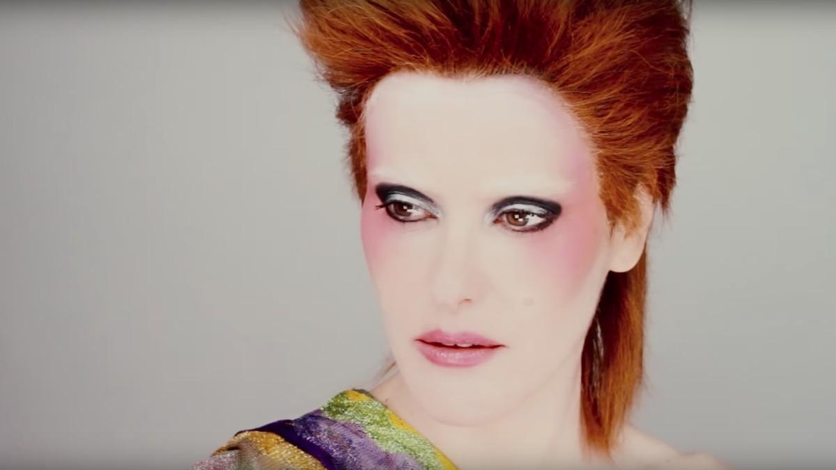 Lisa Eldridge as David Bowie. Screengrab: YouTube