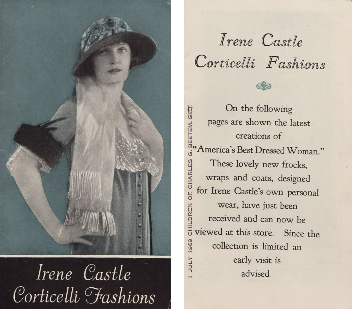 Pamphlet advertising Irene Castle Corticelli Fashions, 1925. Images: Courtesy of Hagley Museum and Library