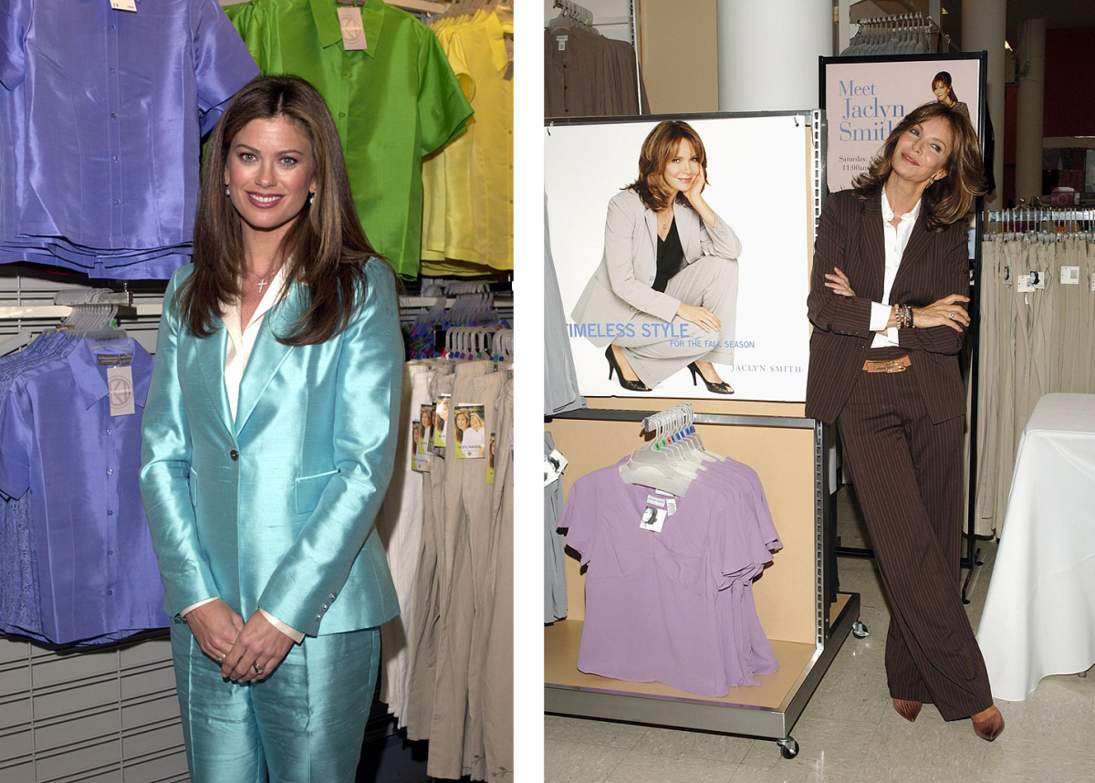 [Left]: Kathy Ireland at a Kmart event, 2001. Photo: RJ Capak/Getty; [Right]: Jaclyn Smith at a Kmart opening, 2006. Photo: John M. Heller/Getty