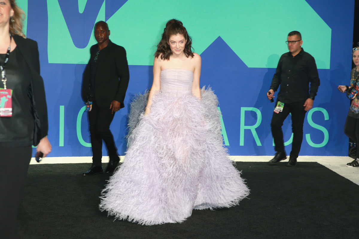 Lorde in Monique Lhuillier. Photo: Rich Fury/Getty Images