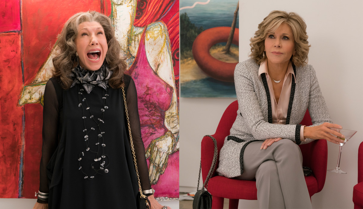 Left: Frankie (Lily Tomlin); right: Grace (Jane Fonda). Photo: Melissa Moseley/Netflix