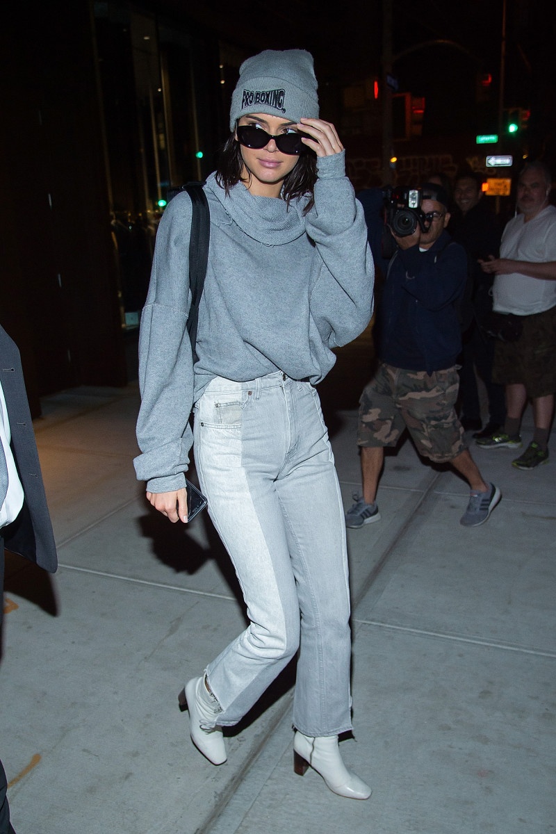 Kendall Jenner in Kurt Geiger boots in May. Photo: Gotham/GC Images