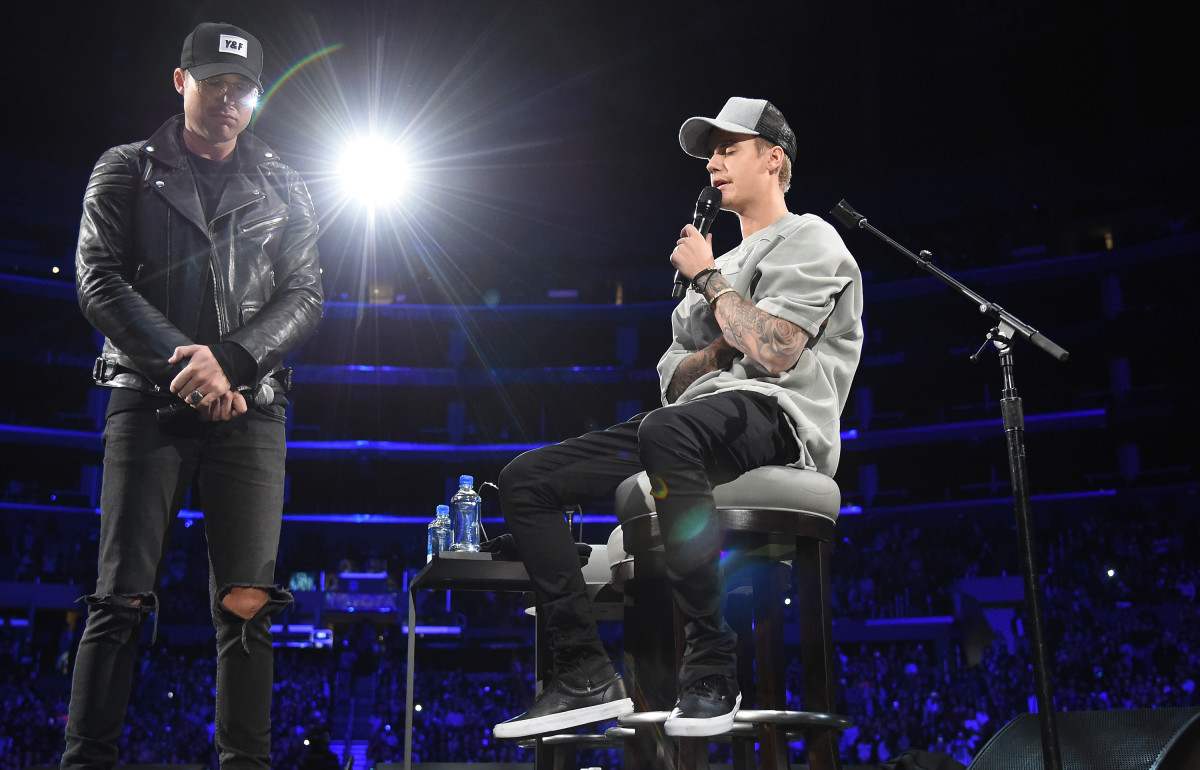 Judah Smith, left, with Justin Bieber in 2015. Photo: Jason Merritt/Getty Images