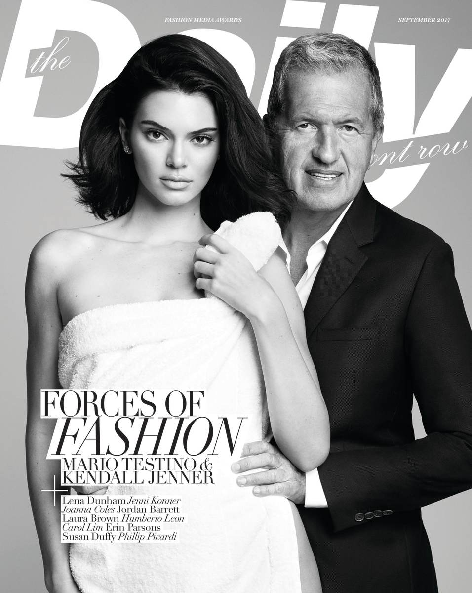 """Kendall Jenner and Mario Testino on the cover of the """"The Daily""""'s Media Issue. Photo: Eric Ray Davidson"""