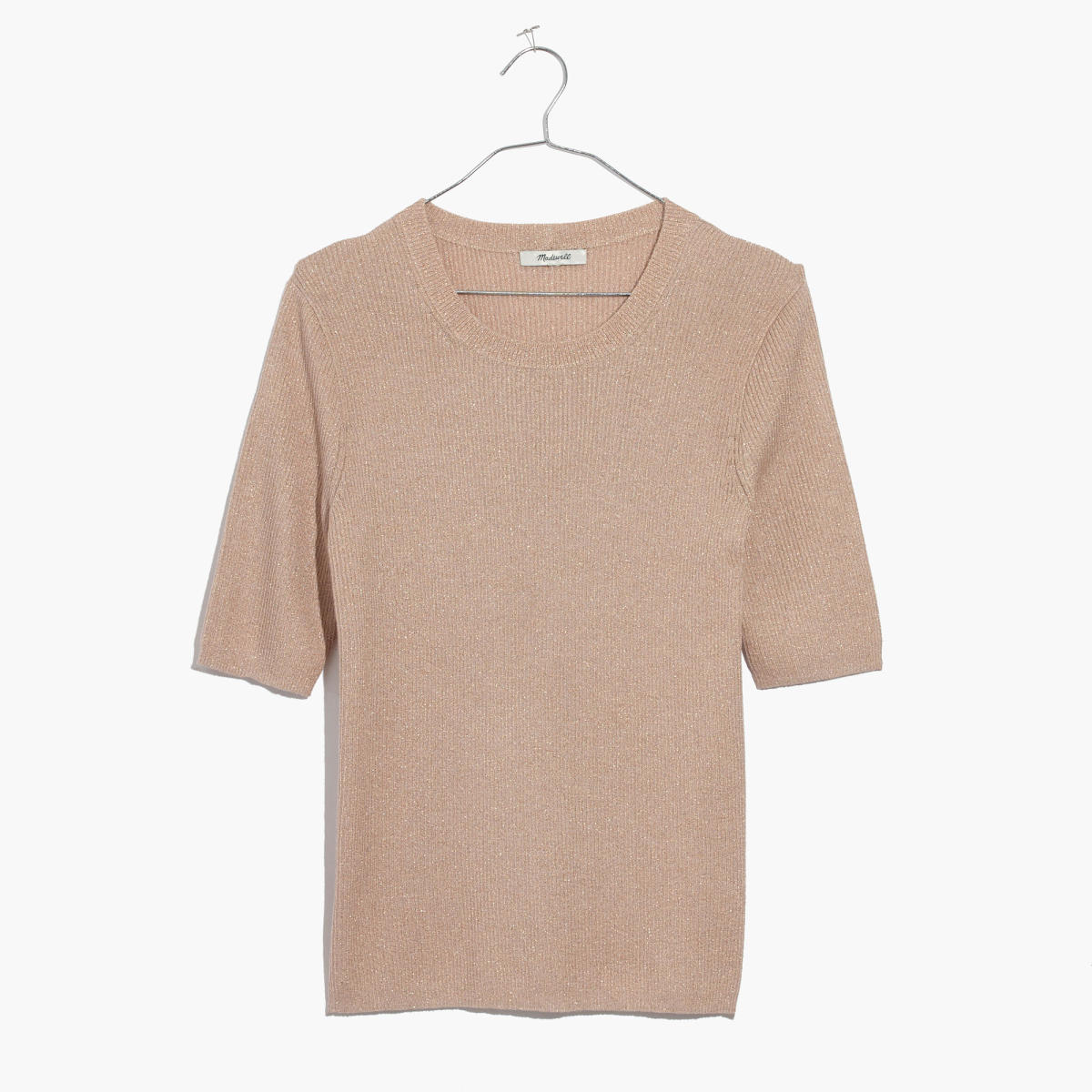"Madewell evening sparkle ribbed sweater top in ""metallic blush,"" $34.99 (from $65), available at Madewell."