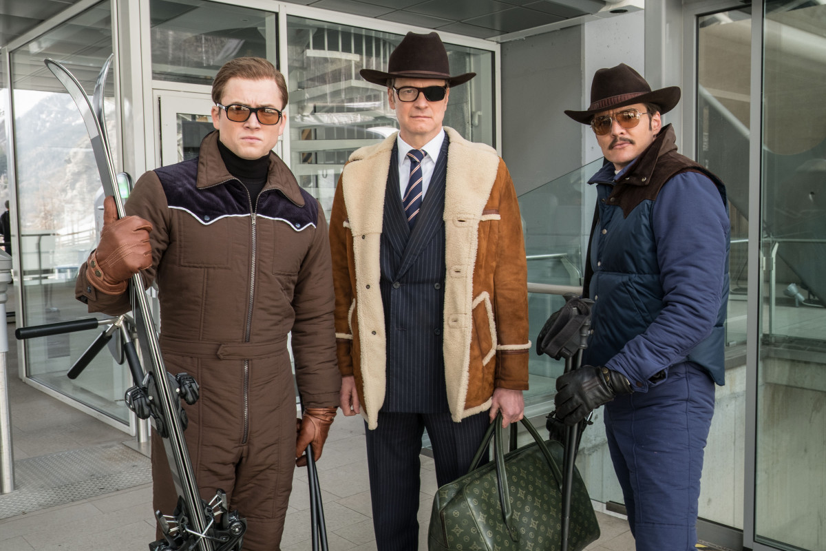 """Eggsy (Taron Egerton), Harry Hart (Colin Firth) and Agent Whiskey (Pedro Pascal) in """"Kingsman: The Golden Circle.' Photo: Giles Keyte/2017 Twentieth Century Fox Film Corporation"""