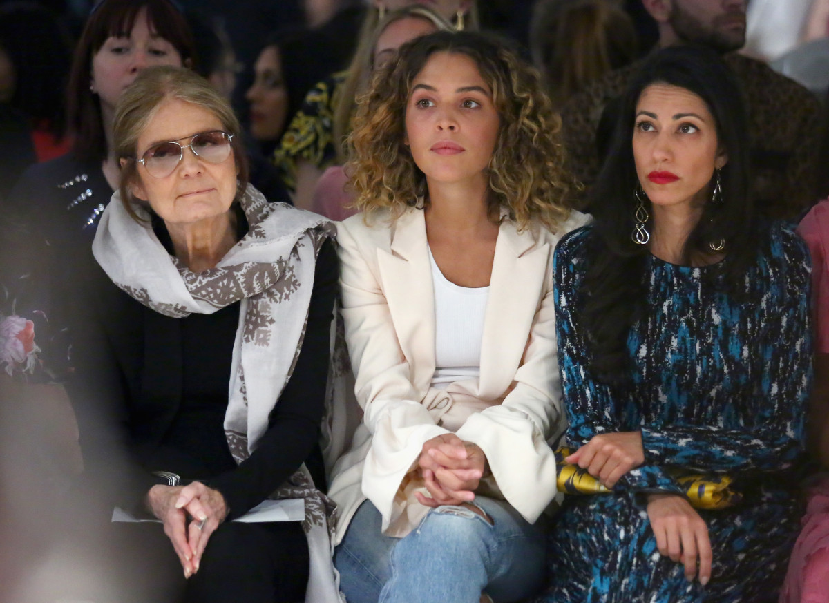 Gloria Steinem front row at Prabal Gurung's Spring 2018 show with Cleo Wade and Huma Abedin. Photo: Astrid Stawiarz/Getty Images