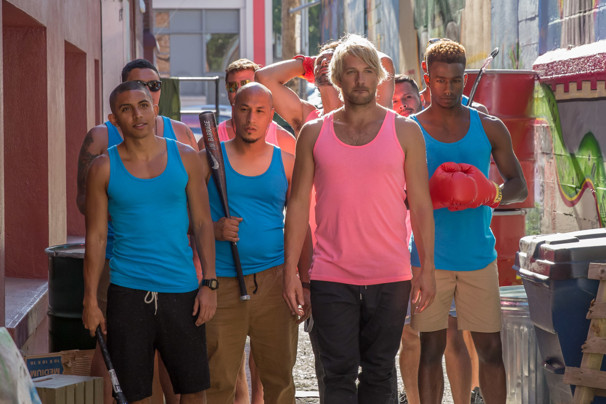 The 'hunks' led by guest star Ryan Hansen in pink. Photo: Augusta Quirk/ IFC