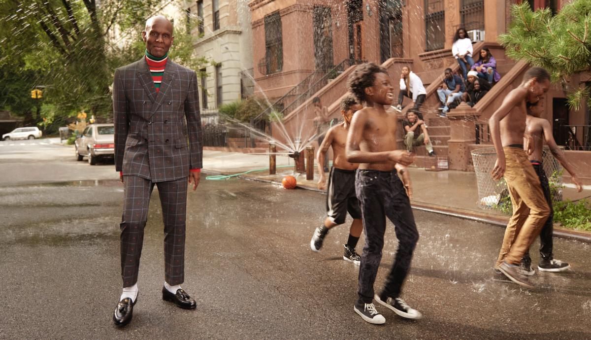 Dapper Dan in Gucci's Men's Tailoring campaign. Photo: Glen Luchford/Gucci