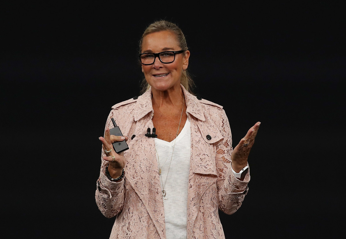 Apple senior vice president of retail Angela Ahrendts speaking at an Apple event on Sept. 12. Photo: Justin Sullivan/Getty Images