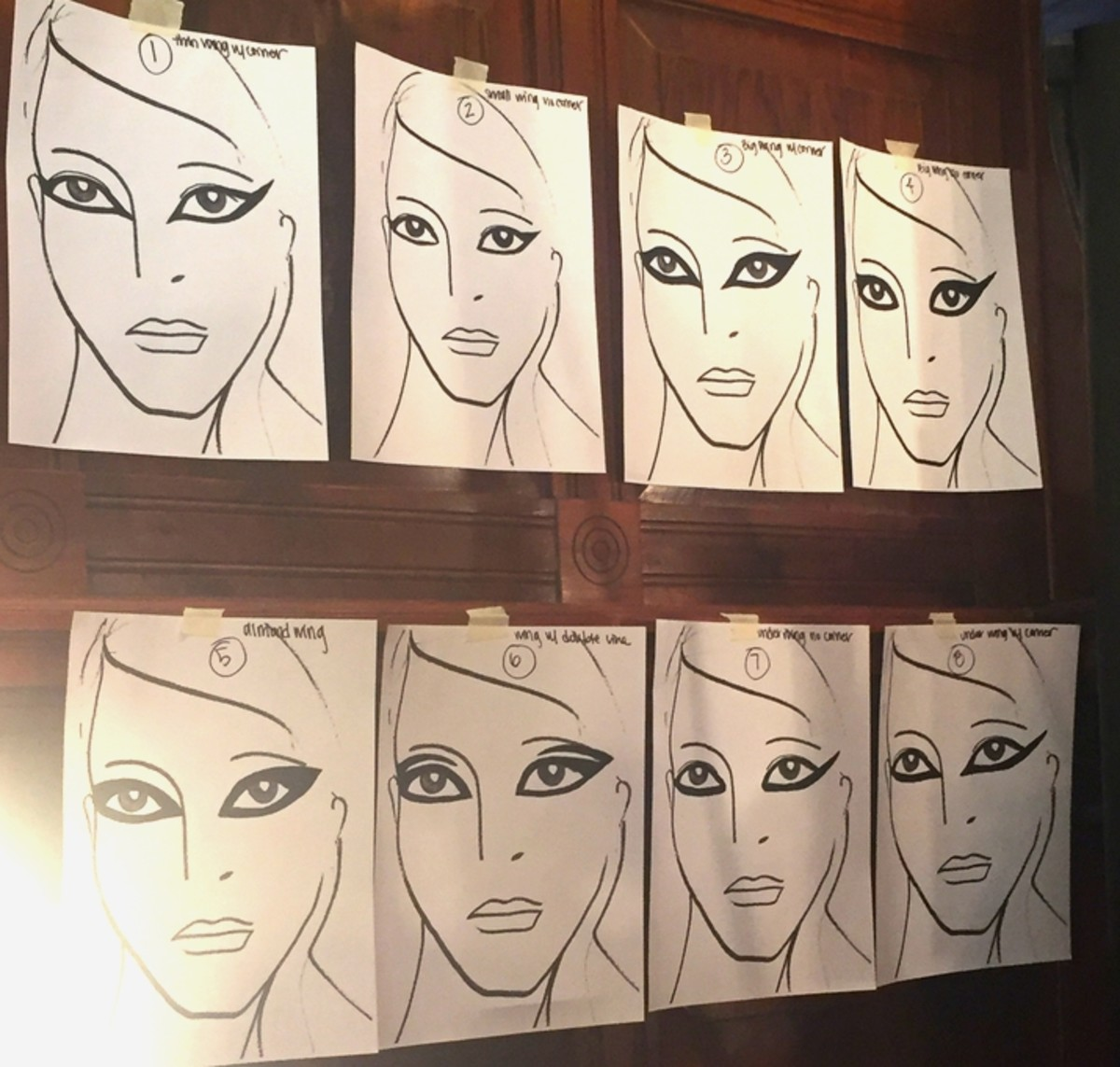 The eight different eyeliner looks posted on face charts for the backstage makeup team to reference. Photo: Stephanie Saltzman/Fashionista
