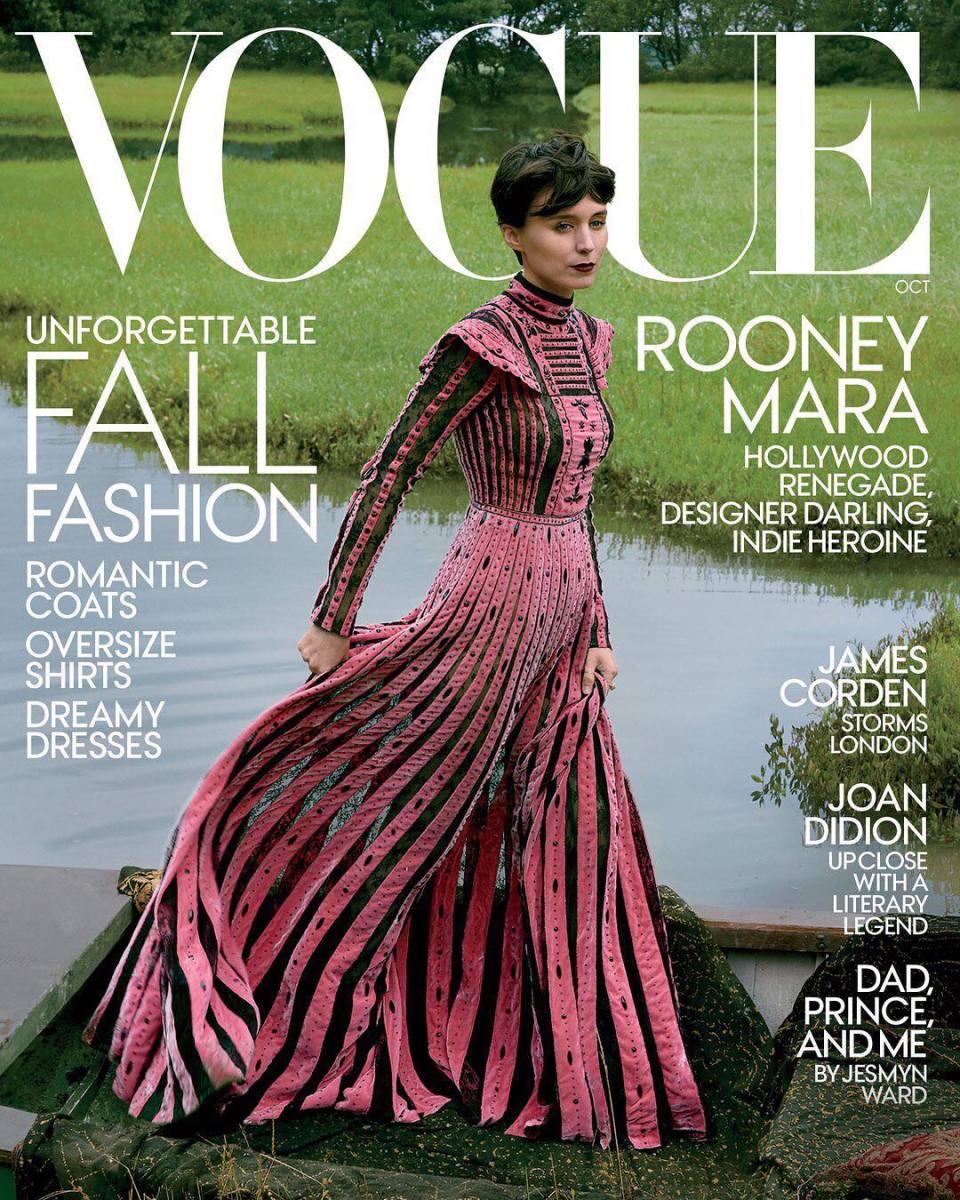 "Rooney Mara on ""Vogue,"" October 2017. Photo: @voguemagazine/Instagram"