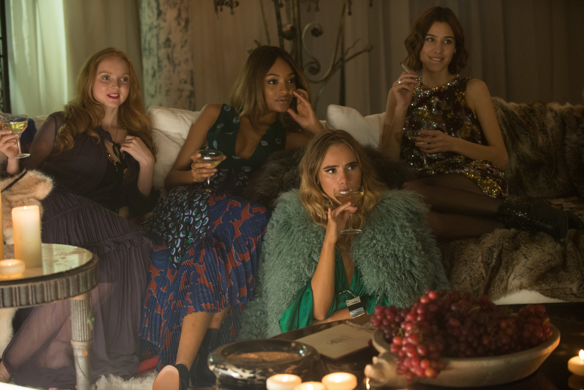 Lily Cole, Jourdan Dunn, Suki Waterhouse and Alexa Chung in the dream sequence. Photo by David Appleby/Twentieth Century Fox Film Corporation