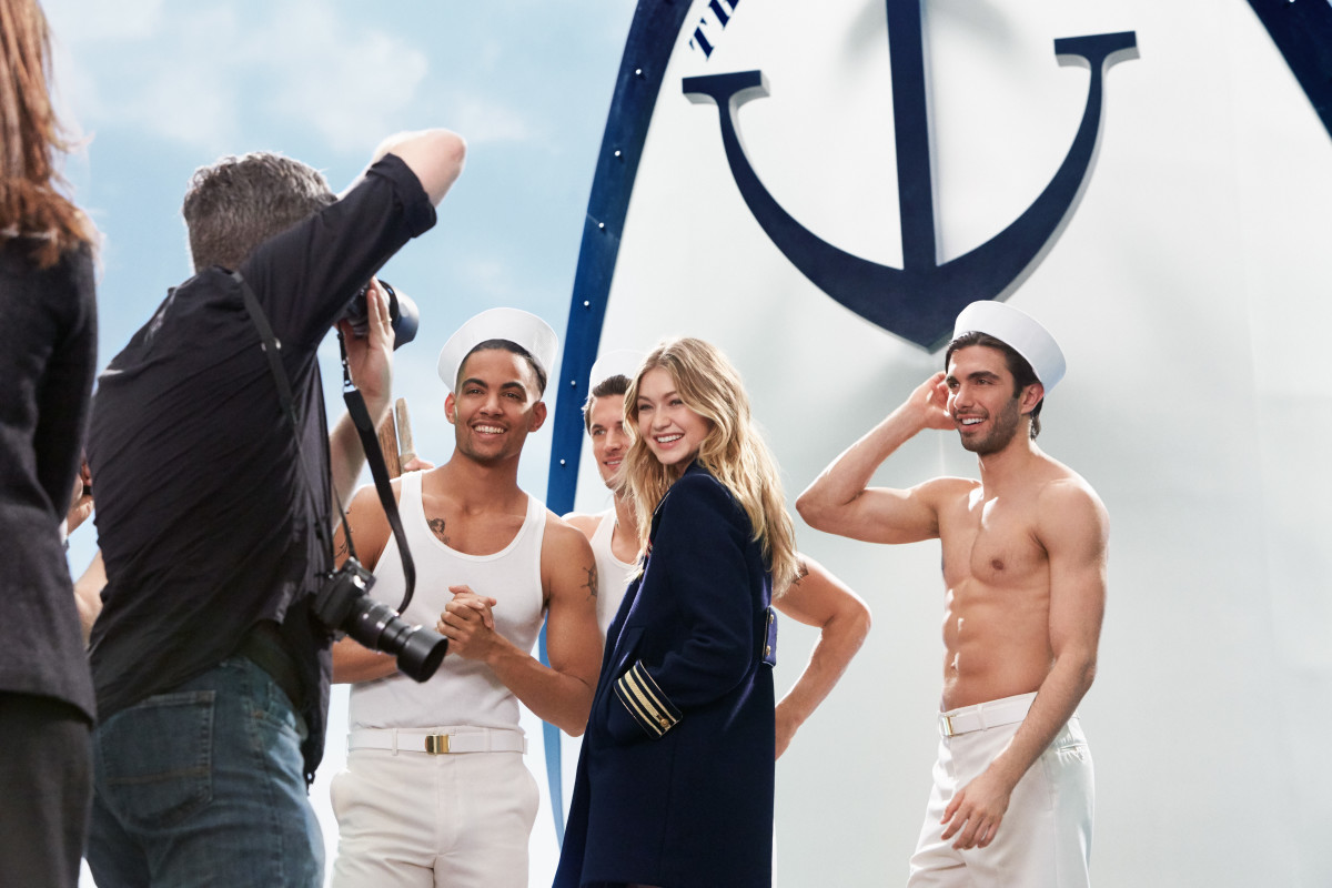 Gigi Hadid behind the scenes of Tommy Hilfiger's new The Girl fragrance campaign. Photo: Courtesy of Tommy Hilfiger
