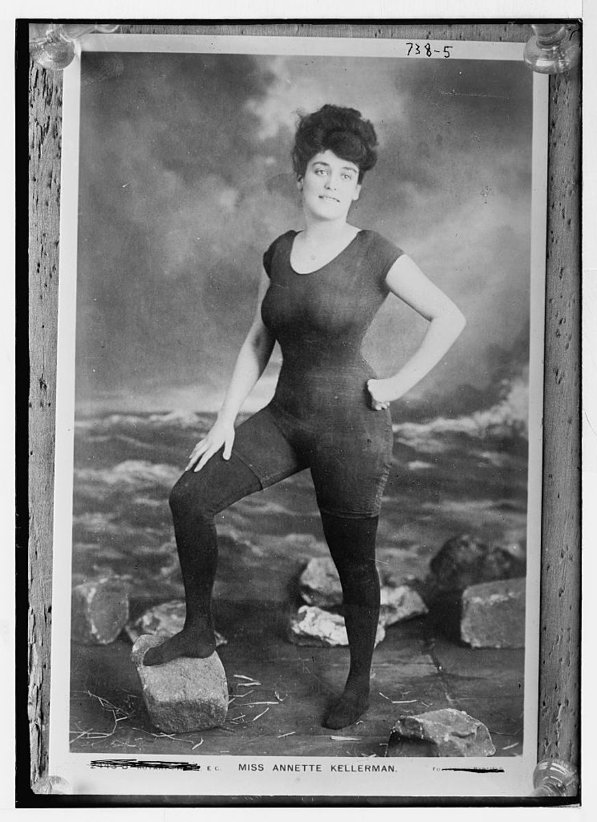 Australian swimmer, diver and performer Annette Kellerman was an early champion of one-piece bathing costumes for women. Photo: Library of Congress