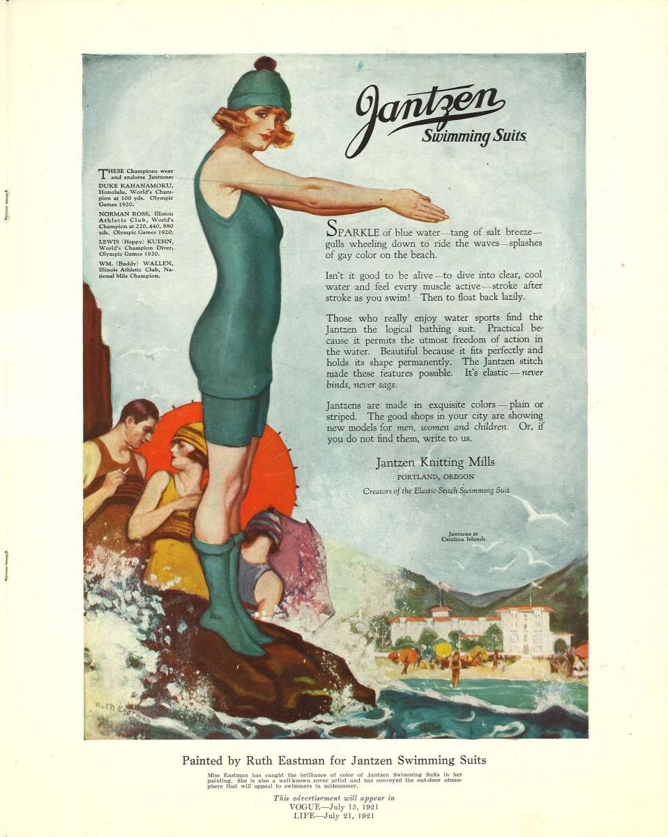 Jantzen advertised its swimsuits with matching stocks and stocking caps in 'Vogue' and 'Life' magazines in 1921. Image: Jantzen