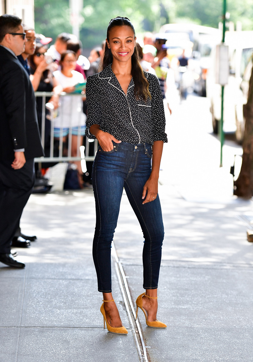Zoe Saldana, wearing a PJ top paired with skinny jeans and pumps. Photo: Getty