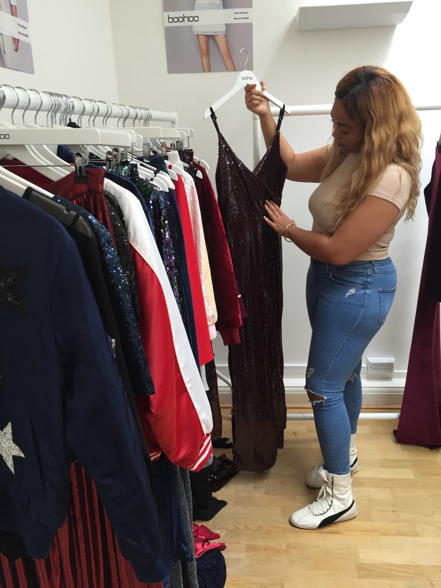 Jordyn Woods checks out her collab with Boohoo. Photo: Boohoo
