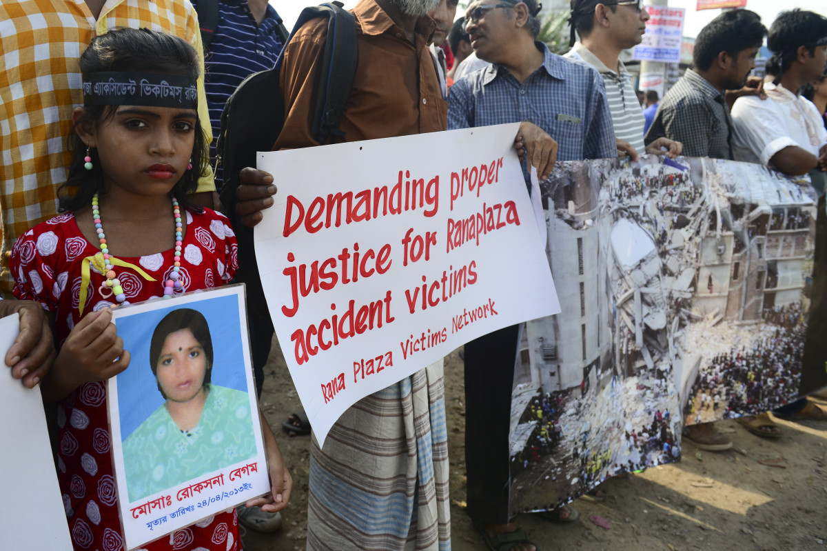 Thousands of Bangladeshi garment workers demanded justice and safe work places as they marked the third anniversary of the Rana Plaza factory disaster in April. Photo: Munir Uz Zaman/AFP/Getty Images