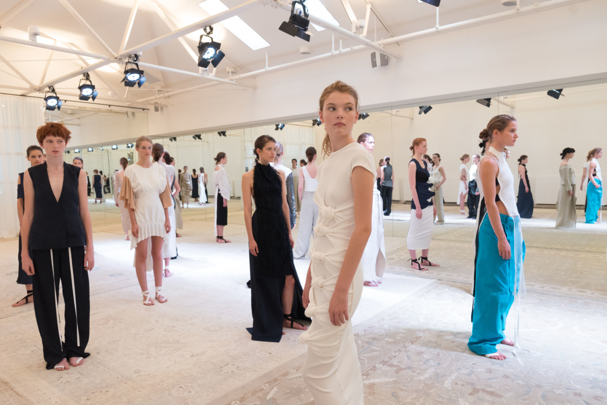 Models line up for Christopher Esber's Resort 2017 presentation. Photo: Christopher Esber