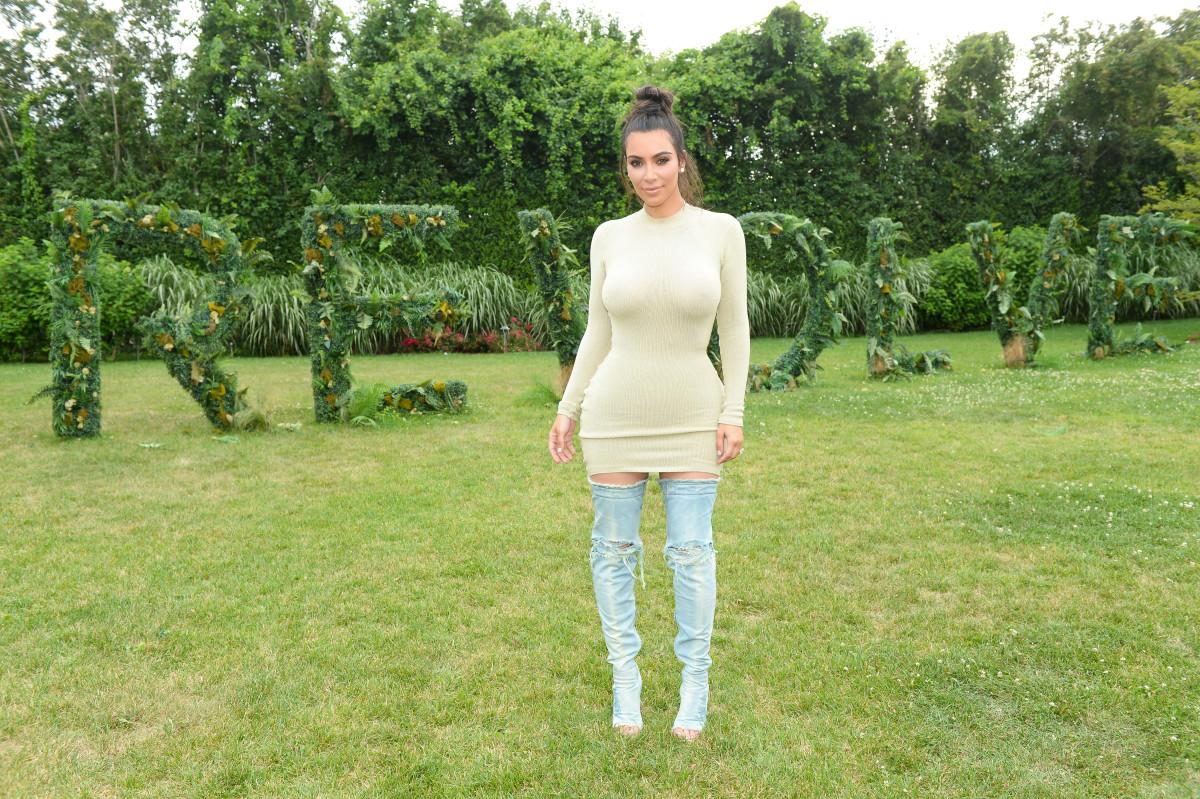 Kim Kardashian at the Revolve Hamptons house. Photo: Courtesy of Revolve
