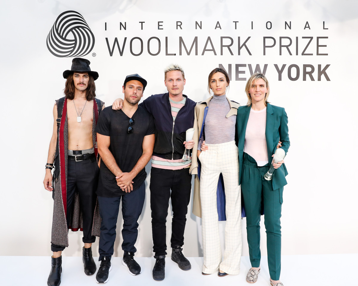 From left to right: A model wearing Rochambeau's winning look, designers Joshua Cooper and Laurence Chandler of Rochambeau, a model wearing Gabriela Hearst's winning look and designer Gabriela Hearst.