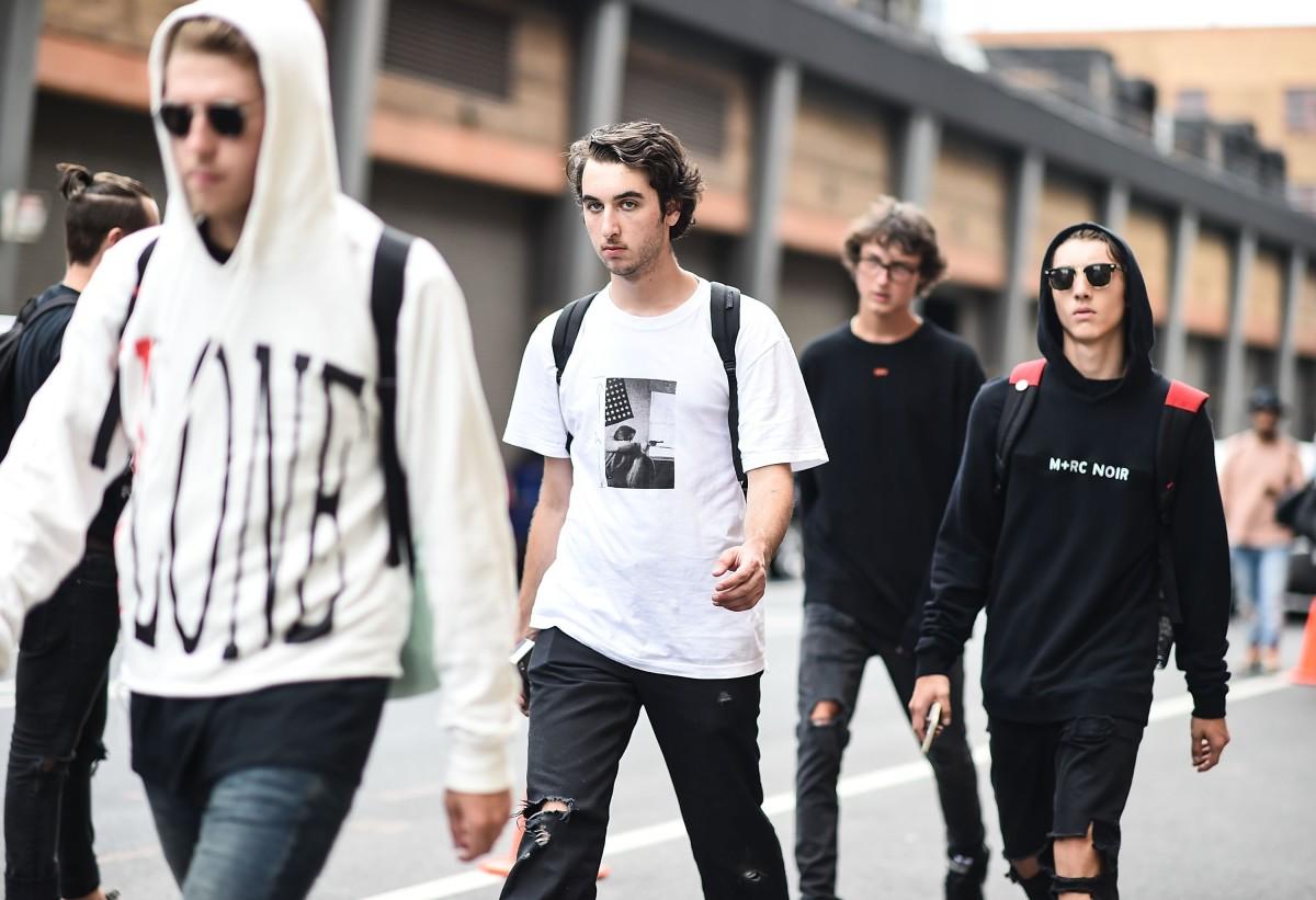 Men outside New York Fashion Week: Men's. Photo: Getty Images