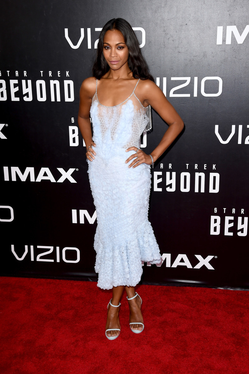 """Zoe Saldana in Givenchy Haute Couture at the """"Star Trek Beyond"""" world premiere in San Diego, Calif. on Wednesday. Photo: Jean Baptiste Lacroix/AFP/Getty Images"""