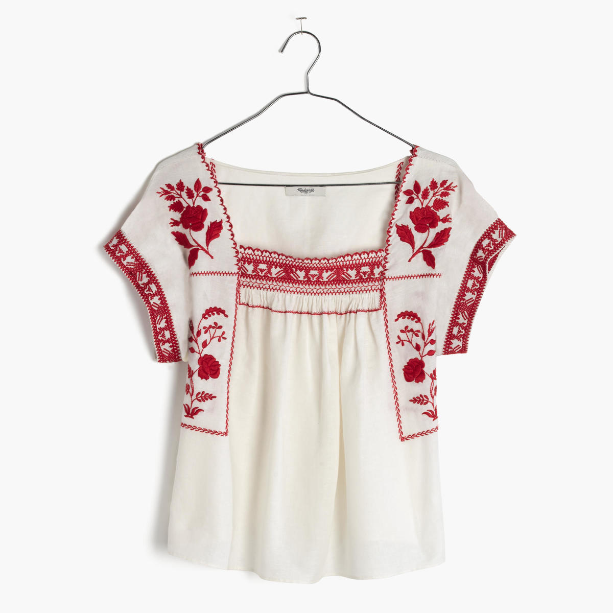 Madewell embroidered wildfield top, $98,available at Madewell