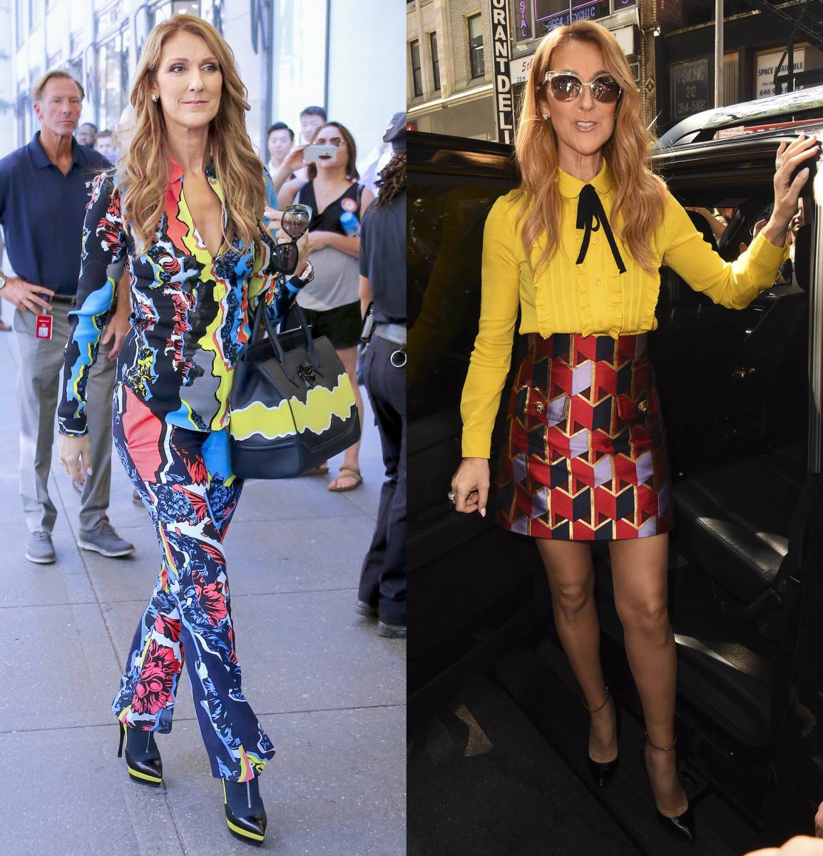 Celine Dion in head-to-toe Versace, left, and Gucci, right. Photos: Versace and Raymond Hall/GC Images
