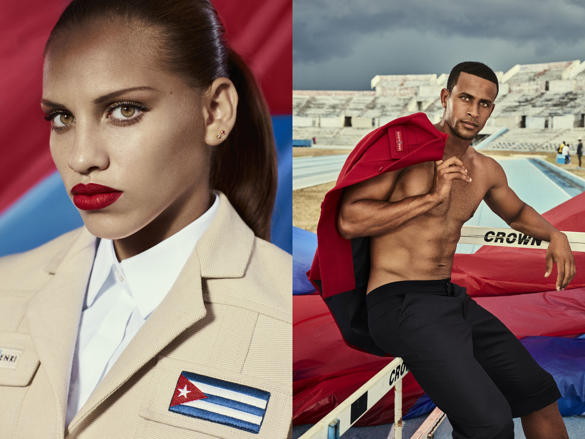 Gymnast Dovelis Elena Torres Herrero and Cuban Team athlete Manuel Alejandro Gonzales Conde. Photo: Rene Habermacher