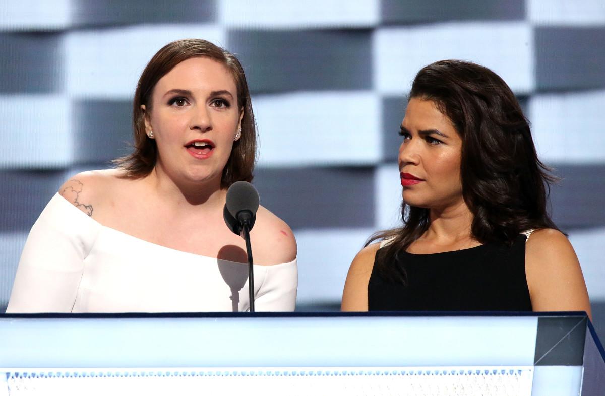 Lena Dunham and America Ferrera at the Democratic National Convention in Philadelphia. Photo: Paul Morigi/Getty Images