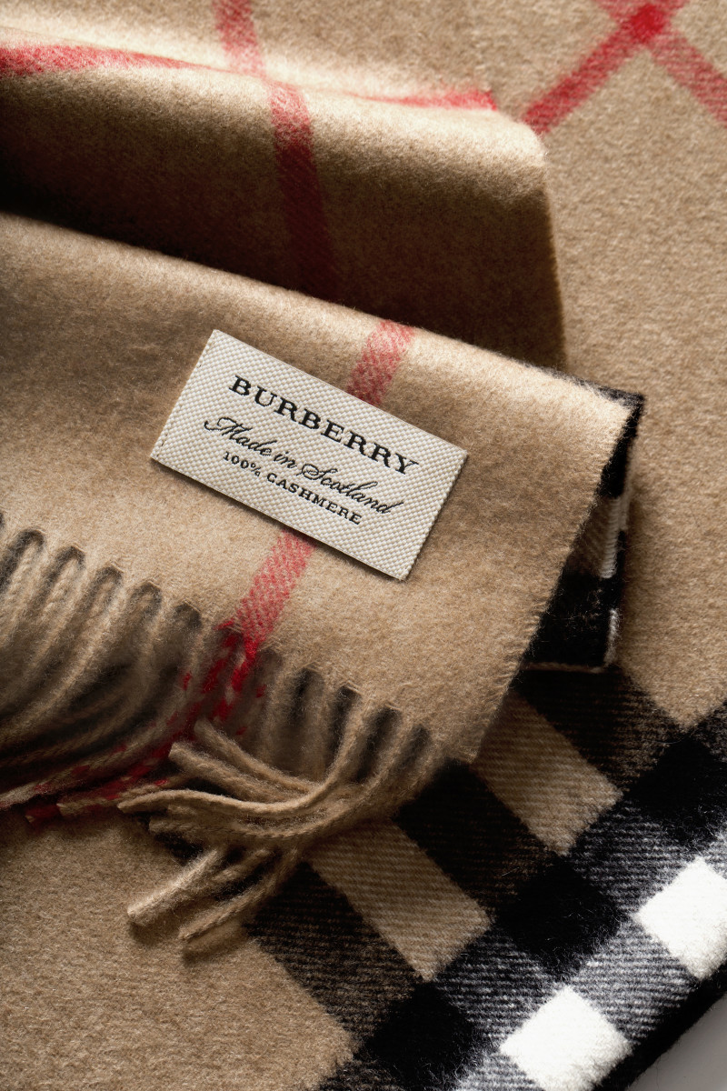 Burberry's signature cashmere scarf in its trademarked check print. Photo: Burberry