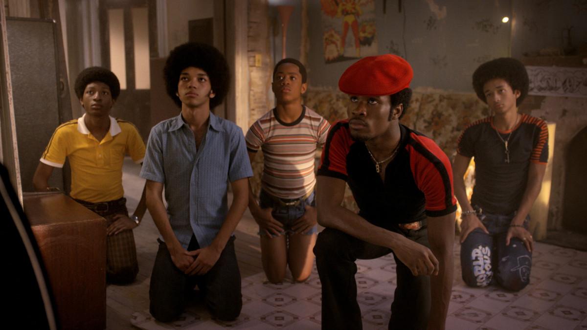 Ra Ra (Skylan Brooks), Ezekiel (Justice Smith), Boo Boo (Tremaine Brown Jr)., Shaolin Fantastic (Shameik Moore), Dizzee (Jaden Smith) pay their respects to Grandmaster Flash. Photo: Netflix