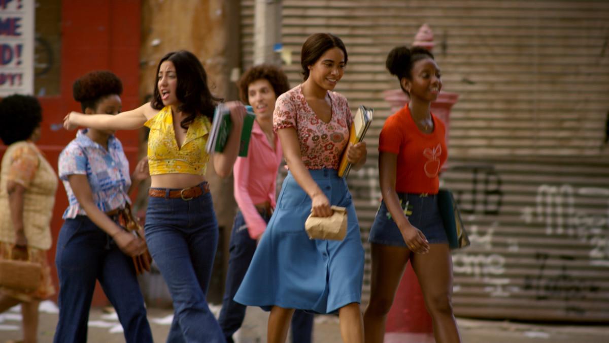 San Juan looked to disco culture icons, includingStudio 54, Pam Grier covering 'Jet' magazine and Bianca Jagger to dressRegina (Shyrley Rodriguez), Mylene (Herizen F. Guardiola) and Yolanda (Stefanée Martin).Photo: Netflix