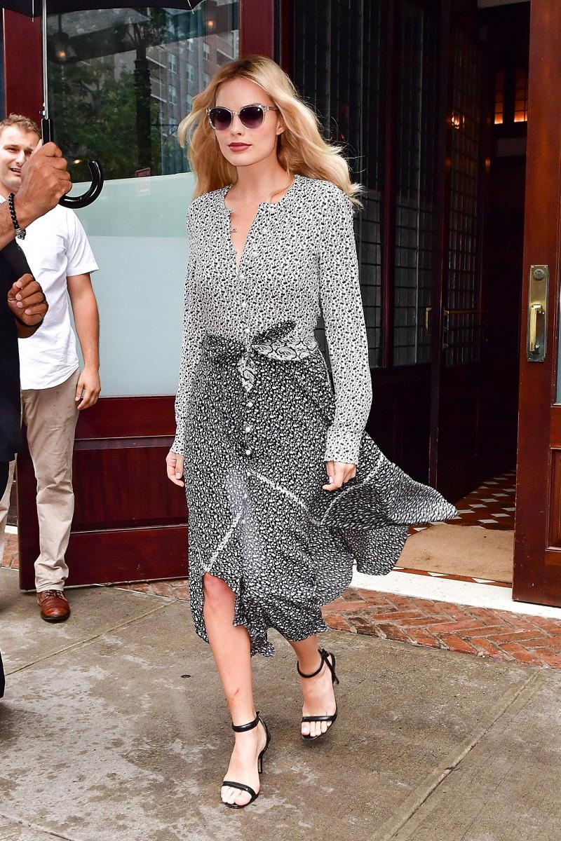 Margot Robbie wears Altuzarra on Sunday. Photo:James Devaney/GC Images