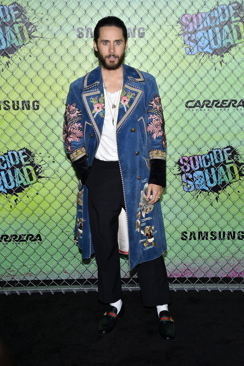 Jared Leto in a Gucci denim coat and loafers. Photo: Bryan Bedder/Getty Images