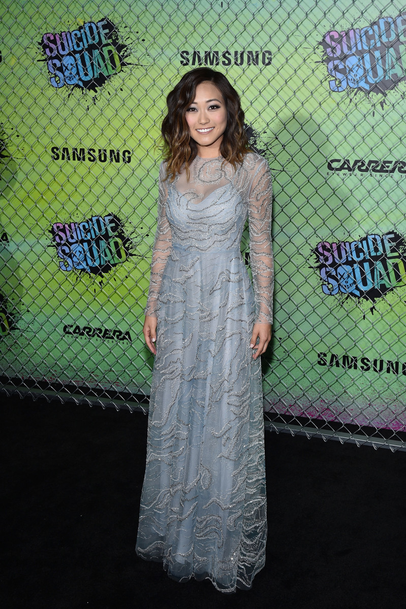 Karen Fukuhara in a Valentino dress, Brian Atwood shoes and Effy jewelry. Photo: Bryan Bedder/Getty Images