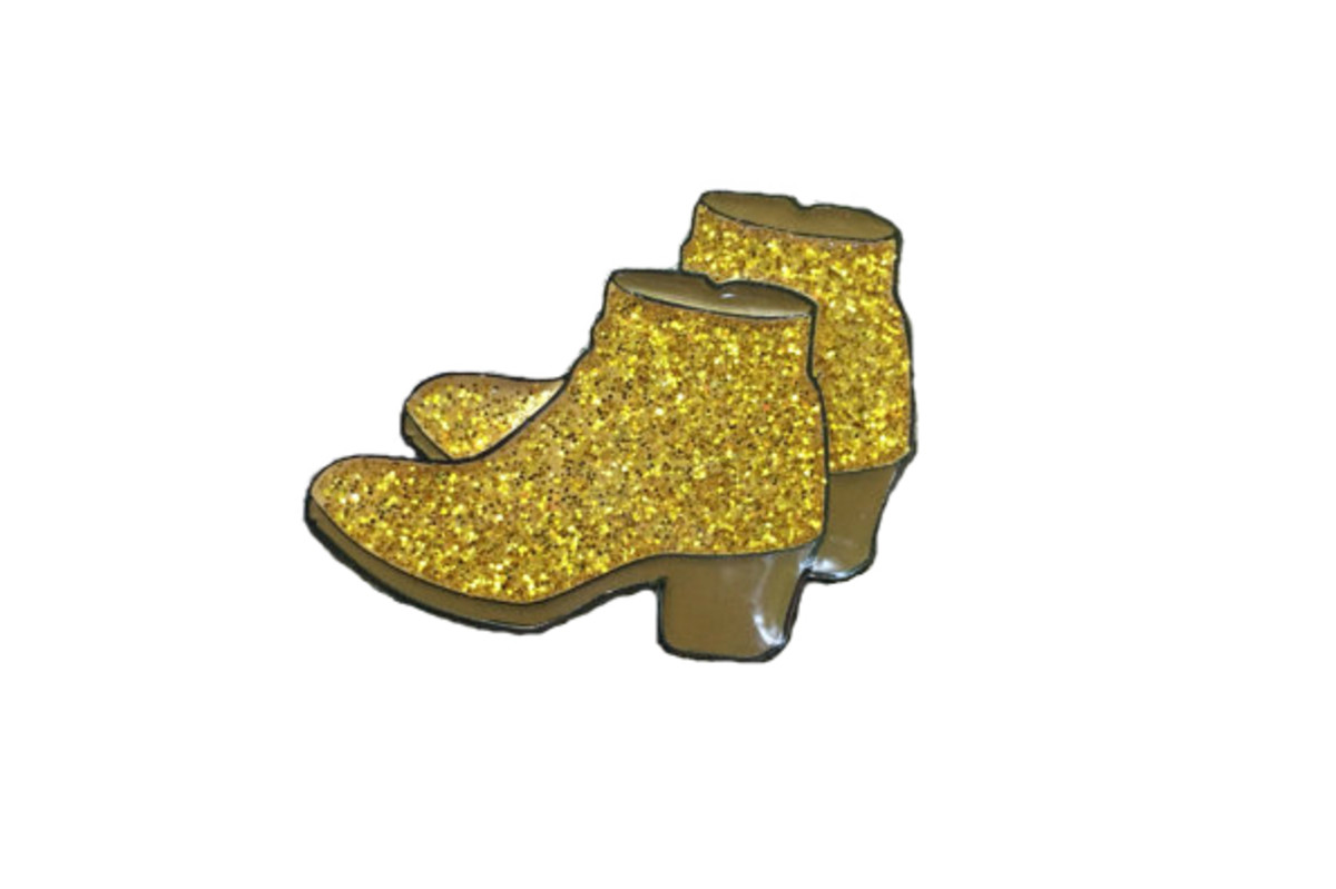 Milly Pins Gold Booties Enamel Pin, $8.50, available at Etsy.