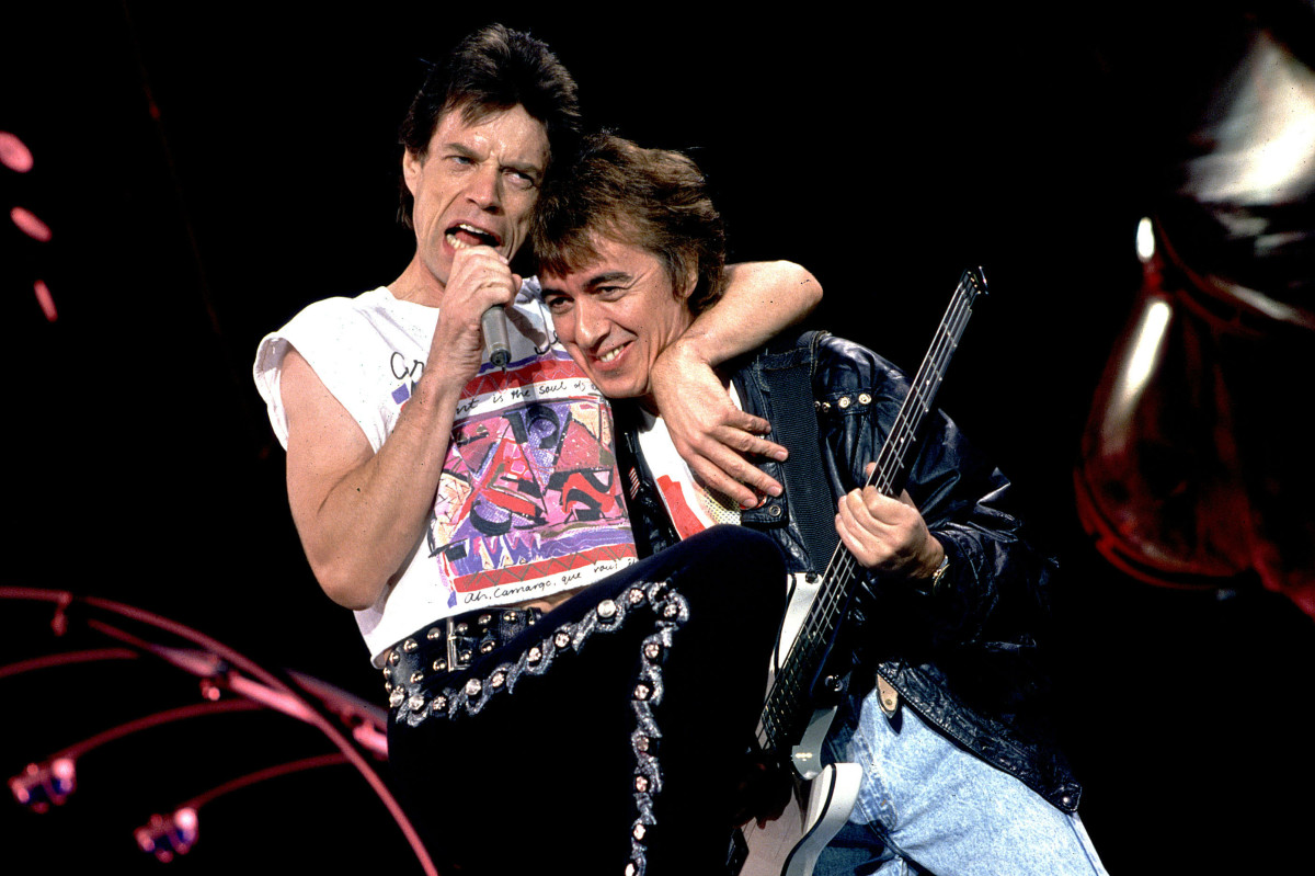 Mick Jagger and Bill Wyman on the The Rolling Stones's 1989 Steel Wheels Tour in Atlanta, Ga. Photo: Paul Natkin/WireImage