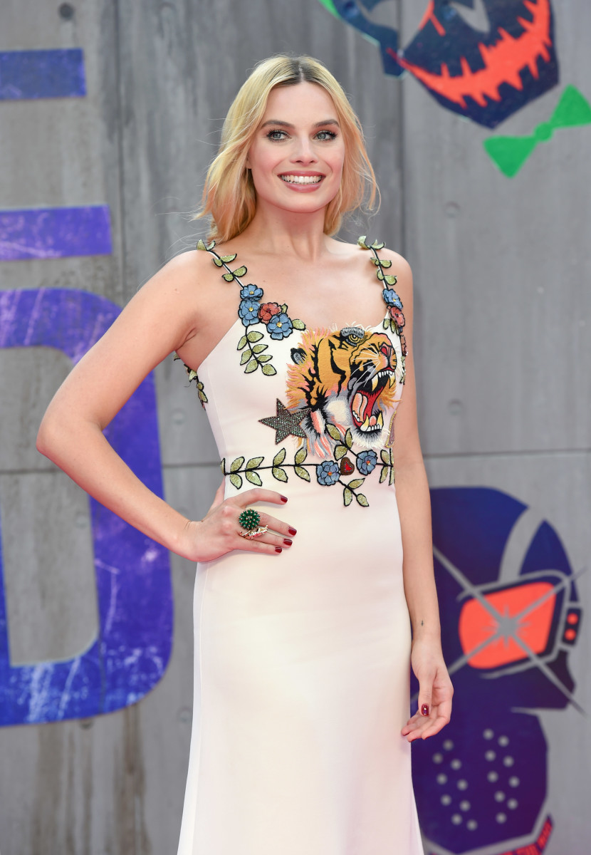 Margot Robbie wears Gucci to the London premiere of Suicide Squad. Photo: Karwai Tang/Getty Images